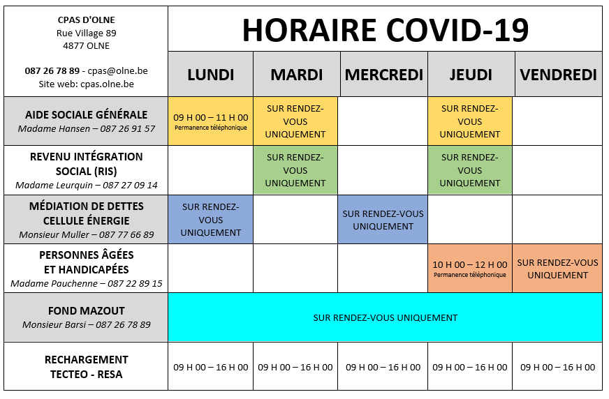 Horaires CPAS COVID 19